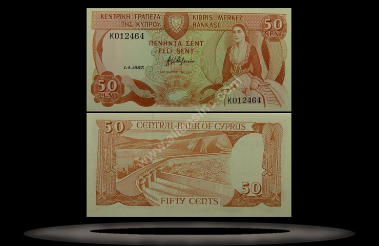 Cyprus Banknote, 50 Cents, 1.4.1987, P#52