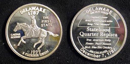 Delaware Quarter Replica' Art Bar.