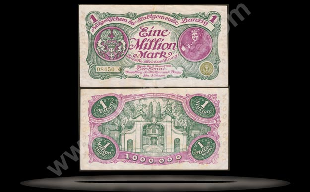 Danzig Banknote, 1 Million Mark, 8.8.1923, P#24a MAIN
