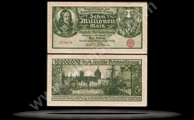 Danzig Banknote, 10 Million Mark, 31.8.1923, P#25b MAIN