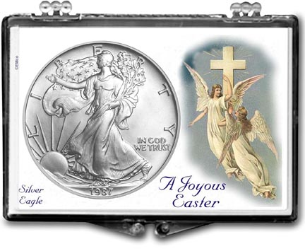 1987 A Joyous Easter with Angels American Silver Eagle Gift Display LARGE