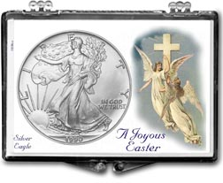 1990 A Joyous Easter with Angels American Silver Eagle Gift Display THUMBNAIL