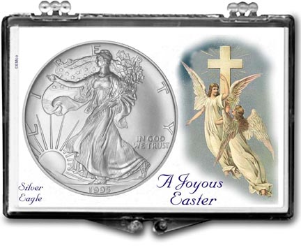 1995 A Joyous Easter with Angels American Silver Eagle Gift Display LARGE