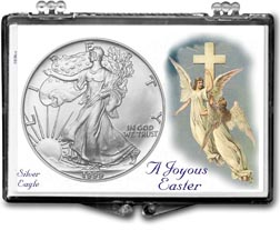 1999 A Joyous Easter with Angels American Silver Eagle Gift Display THUMBNAIL