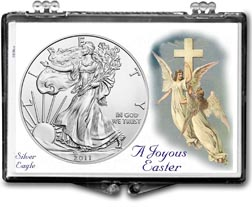 2011 A Joyous Easter with Angels American Silver Eagle Gift Display THUMBNAIL
