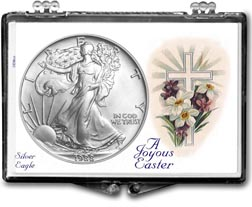 1988 A Joyous Easter with Cross American Silver Eagle Gift Display THUMBNAIL