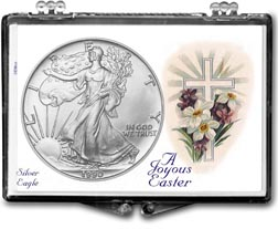 1990 A Joyous Easter with Cross American Silver Eagle Gift Display THUMBNAIL