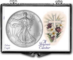 1995 A Joyous Easter with Cross American Silver Eagle Gift Display THUMBNAIL