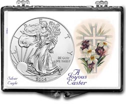 2004 A Joyous Easter with Cross American Silver Eagle Gift Display THUMBNAIL