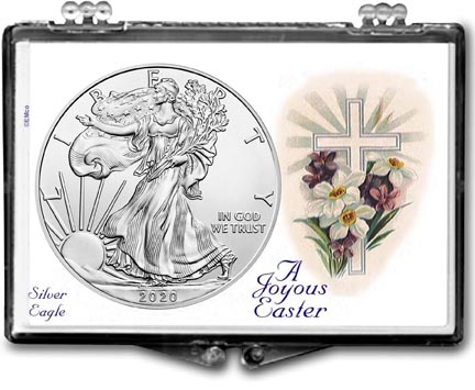 A Joyous Easter with Cross American Silver Eagle Gift Display LARGE