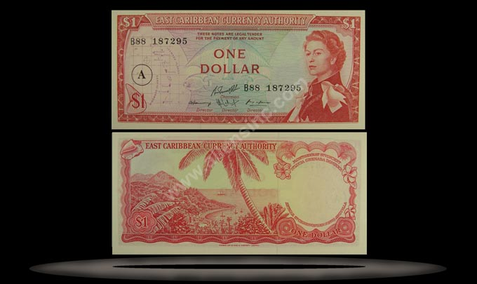East Caribbean States Banknote, 1 Dollar, ND (1965), P#13c_MAIN