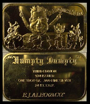 Watergate 'Humpty Dumpty' - Inauguration, gold plated' Art Bar by EJ Aleo & Associates.