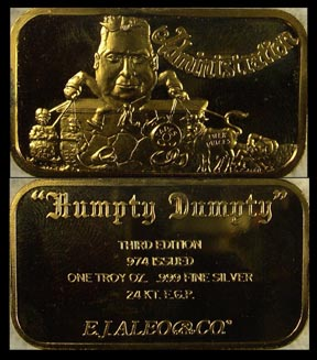Watergate 'Humpty Dumpty' - Administration, gold plated' Art Bar by EJ Aleo & Associates.