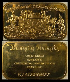Watergate 'Humpty Dumpty' - Impeachment-Resignation, gold plated' Art Bar by EJ Aleo & Associates. MAIN