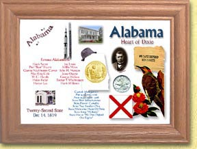 Alabama State Quarter Frame - with Gold Plated State Quarter