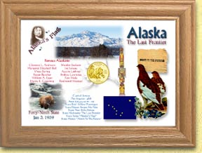 Alaska State Quarter Frame - with Gold Plated State Quarter