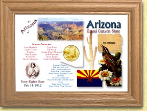 Arizona State Quarter Frame - with Gold Plated State Quarter