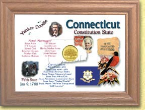 Connecticut State Quarter Frame - with Gold Plated State Quarter