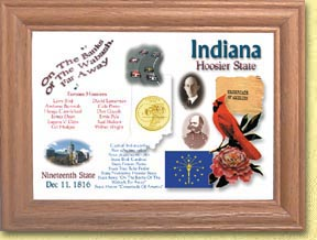 Indiana State Quarter Frame - with Gold Plated State Quarter