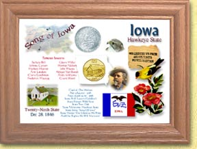 Iowa State Quarter Frame - with Gold Plated State Quarter