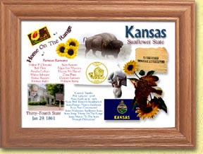 Kansas State Quarter Frame - with Gold Plated State Quarter