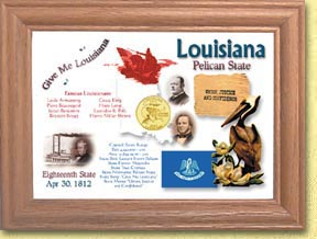 Louisiana State Quarter Frame - with Gold Plated State Quarter