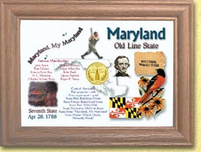 Maryland State Quarter Frame - with Gold Plated State Quarter