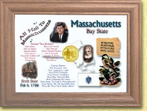 Massachusetts State Quarter Frame - with Gold Plated State Quarter
