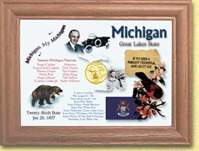 Michigan State Quarter Frame - with Gold Plated State Quarter