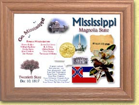 Mississippi State Quarter Frame - with Gold Plated State Quarter