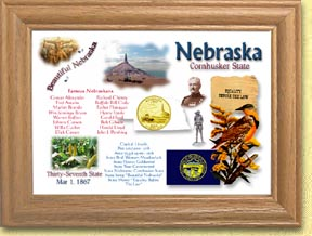 Nebraska State Quarter Frame - with Gold Plated State Quarter