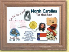 North Carolina State Quarter Frame - with Gold Plated State Quarter