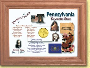 Pennsylvania State Quarter Frame - with Gold Plated State Quarter