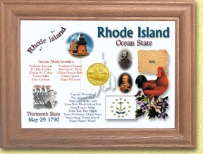 Rhode Island State Quarter Frame - with Gold Plated State Quarter