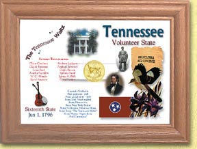 Tennessee State Quarter Frame - with Gold Plated State Quarter