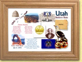 Utah State Quarter Frame - with Gold Plated State Quarter