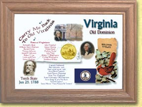 Virginia State Quarter Frame - with Gold Plated State Quarter