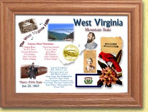 West Virginia State Quarter Frame - with Gold Plated State Quarter