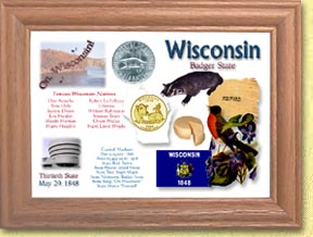 Wisconsin State Quarter Frame - with Gold Plated State Quarter
