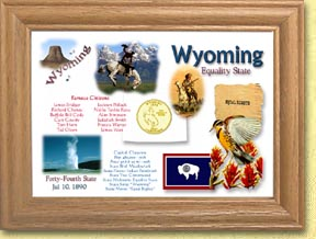 Wyoming State Quarter Frame - with Gold Plated State Quarter