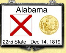 Alabama - State Flag Snaplock Display - with Gold Plated State Quarter