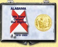 Alabama - State Motto Snaplock Display - with Gold Plated State Quarter