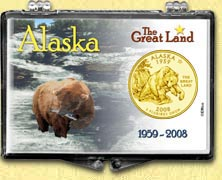 Alaska - The Great Land Snaplock Display - with Gold Plated State Quarter