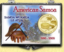 American Samoa - Beach Snaplock Display - with Gold Plated Territorial Quarter