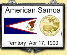 American Samoa Flag Snaplock Display - with Gold Plated Territorial Quarter
