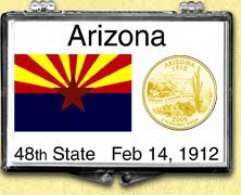 Arizona State Flag Snaplock Display - with Gold Plated State Quarter
