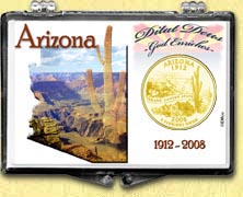 Arizona - Grand Canyon Snaplock Display - with Gold Plated State Quarter