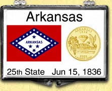 Arkansas - State Flag Snaplock Display - with Gold Plated State Quarter