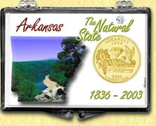 Arkansas - The Natural State Snaplock Display - with Gold Plated State Quarter