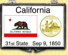 California - State Flag Snaplock Display - with Gold Plated State Quarter